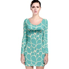 Blue Abstract Water Drops Pattern Long Sleeve Velvet Bodycon Dress