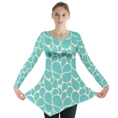 Blue Abstract Water Drops Pattern Long Sleeve Tunic