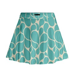 Blue Abstract Water Drops Pattern Mini Flare Skirt