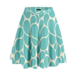 Blue Abstract Water Drops Pattern High Waist Skirt