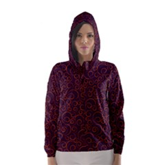 Seamless Orange Ornaments Pattern Hooded Wind Breaker (Women)