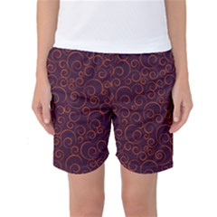 Seamless Orange Ornaments Pattern Women s Basketball Shorts