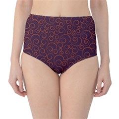 Seamless Orange Ornaments Pattern High-Waist Bikini Bottoms