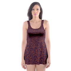Seamless Orange Ornaments Pattern Skater Dress Swimsuit