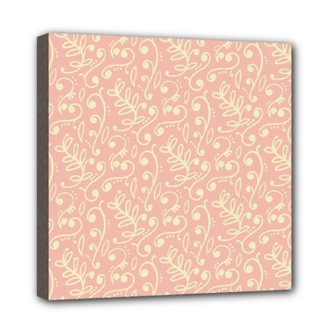 Girly Pink Leaves And Swirls Ornamental Background Mini Canvas 8  x 8
