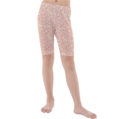 Girly Pink Leaves And Swirls Ornamental Background Kid s Mid Length Swim Shorts