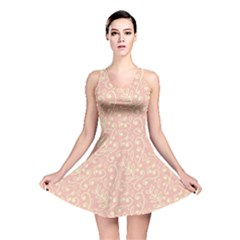 Girly Pink Leaves And Swirls Ornamental Background Reversible Skater Dress