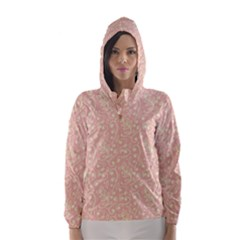 Girly Pink Leaves And Swirls Ornamental Background Hooded Wind Breaker (women)