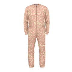 Girly Pink Leaves And Swirls Ornamental Background OnePiece Jumpsuit (Kids)