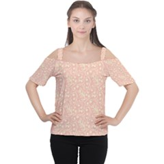 Girly Pink Leaves And Swirls Ornamental Background Women s Cutout Shoulder Tee
