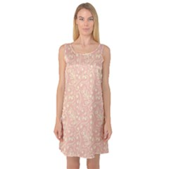 Girly Pink Leaves And Swirls Ornamental Background Sleeveless Satin Nightdress