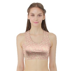 Girly Pink Leaves And Swirls Ornamental Background Women s Sports Bra with Border