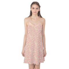 Girly Pink Leaves And Swirls Ornamental Background Camis Nightgown