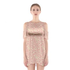 Girly Pink Leaves And Swirls Ornamental Background Cutout Shoulder Dress