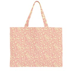 Girly Pink Leaves And Swirls Ornamental Background Large Tote Bag