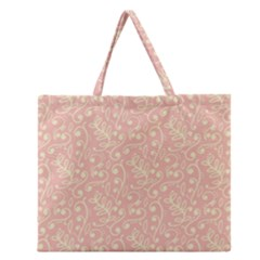 Girly Pink Leaves And Swirls Ornamental Background Zipper Large Tote Bag