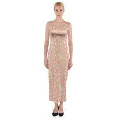 Girly Pink Leaves And Swirls Ornamental Background Fitted Maxi Dress