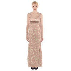 Girly Pink Leaves And Swirls Ornamental Background Maxi Thigh Split Dress
