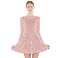 Girly Pink Leaves And Swirls Ornamental Background Long Sleeve Velvet Skater Dress