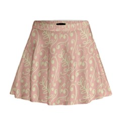 Girly Pink Leaves And Swirls Ornamental Background Mini Flare Skirt