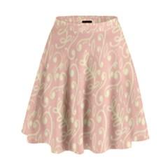 Girly Pink Leaves And Swirls Ornamental Background High Waist Skirt