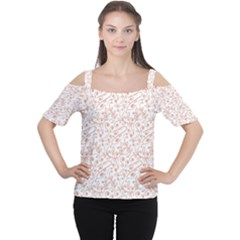 Hand Drawn Seamless Floral Ornamental Background Women s Cutout Shoulder Tee
