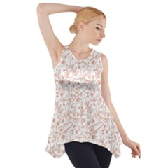 Hand Drawn Seamless Floral Ornamental Background Side Drop Tank Tunic