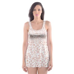 Hand Drawn Seamless Floral Ornamental Background Skater Dress Swimsuit