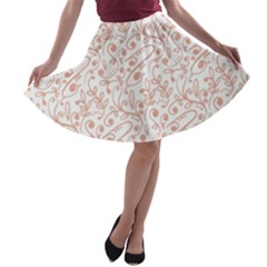 Hand Drawn Seamless Floral Ornamental Background A-line Skater Skirt