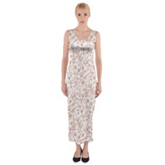 Hand Drawn Seamless Floral Ornamental Background Fitted Maxi Dress