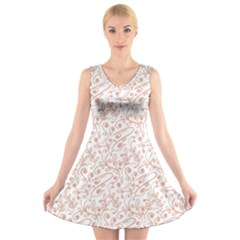 Hand Drawn Seamless Floral Ornamental Background V Neck Sleeveless Skater Dress