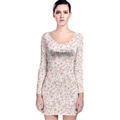 Hand Drawn Seamless Floral Ornamental Background Long Sleeve Velvet Bodycon Dress