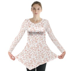 Hand Drawn Seamless Floral Ornamental Background Long Sleeve Tunic