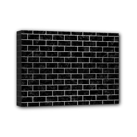 Brick1 Black Marble & Silver Brushed Metal Mini Canvas 7  X 5  (stretched)