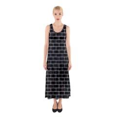 BRK1 BK MARBLE SILVER Full Print Maxi Dress