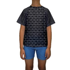 Brick1 Black Marble & Silver Brushed Metal Kids  Short Sleeve Swimwear