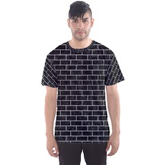 Brick1 Black Marble & Silver Brushed Metal Men s Sports Mesh Tee