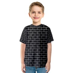 Brick1 Black Marble & Silver Brushed Metal Kids  Sport Mesh Tee