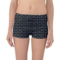 Brick1 Black Marble & Silver Brushed Metal Boyleg Bikini Bottoms
