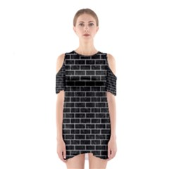 Brick1 Black Marble & Silver Brushed Metal Shoulder Cutout One Piece