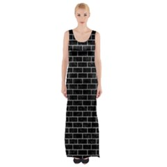BRK1 BK MARBLE SILVER Maxi Thigh Split Dress