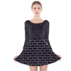 BRK1 BK MARBLE SILVER Long Sleeve Velvet Skater Dress
