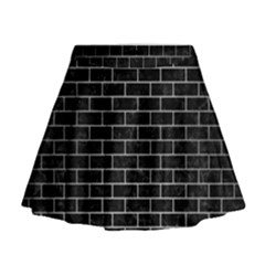 Brick1 Black Marble & Silver Brushed Metal Mini Flare Skirt