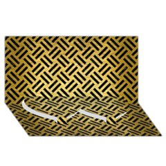 Woven2 Black Marble & Gold Brushed Metal (r) Twin Heart Bottom 3d Greeting Card (8x4)
