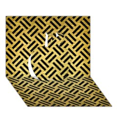 Woven2 Black Marble & Gold Brushed Metal (r) Apple 3d Greeting Card (7x5)