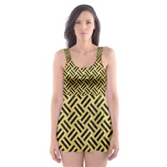 WOV2 BK MARBLE GOLD (R) Skater Dress Swimsuit
