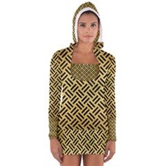 Woven2 Black Marble & Gold Brushed Metal (r) Long Sleeve Hooded T Shirt