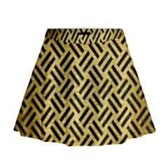 Woven2 Black Marble & Gold Brushed Metal (r) Mini Flare Skirt