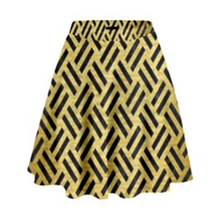 WOV2 BK MARBLE GOLD (R) High Waist Skirt