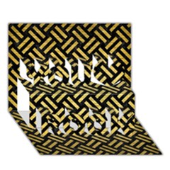 Woven2 Black Marble & Gold Brushed Metal You Rock 3d Greeting Card (7x5)
